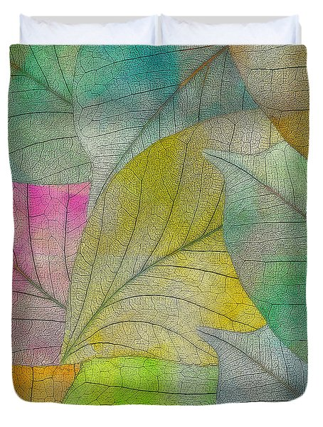 Duvet Cover featuring the digital art Colorful Leaves by Klara Acel