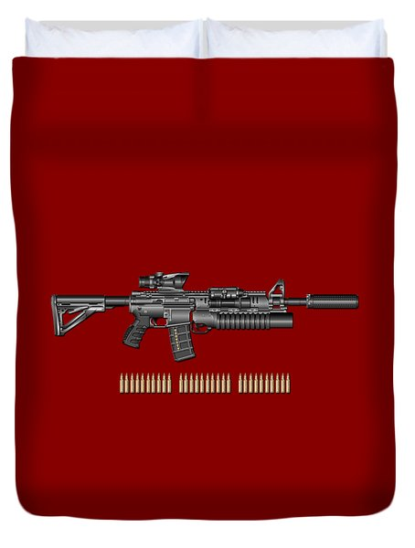 Colt  M 4 A 1  S O P M O D Carbine With 5.56 N A T O Rounds On Red Velvet  Duvet Cover by Serge Averbukh