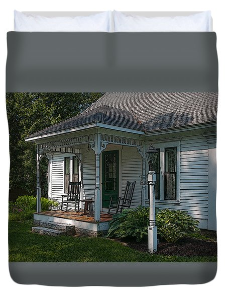 Come Sit On My Porch Duvet Cover by Brenda Jacobs