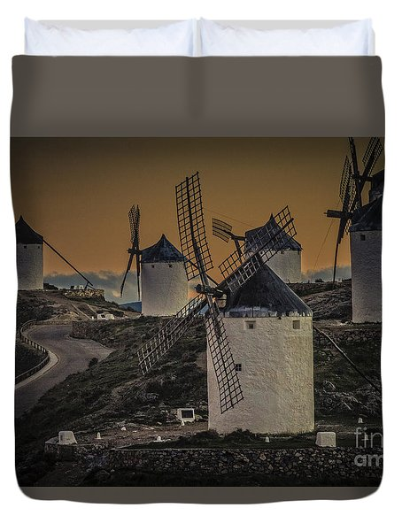 Duvet Cover featuring the photograph Consuegra Windmills 2 by Heiko Koehrer-Wagner