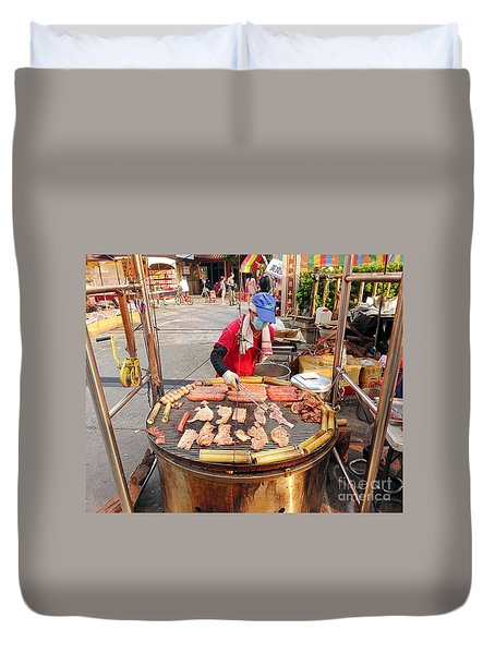 Duvet Cover featuring the photograph Cooking Meat And Eggs On A Huge Grill by Yali Shi