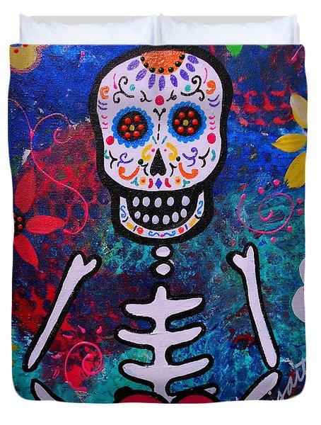 Corazon Day Of The Dead Duvet Cover by Pristine Cartera Turkus