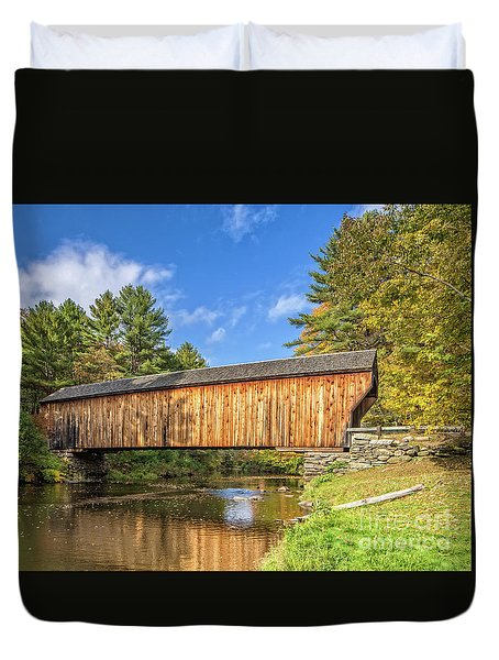 Duvet Cover featuring the photograph Corbin Covered Bridge Newport New Hampshire by Edward Fielding