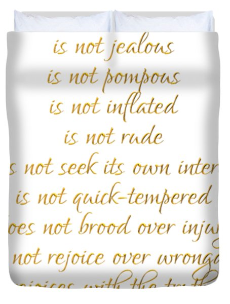 1 Corinthians 13 Love Is White Background Duvet Cover
