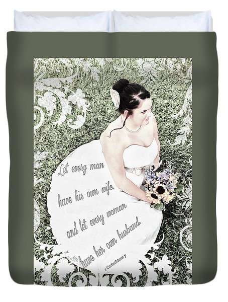 1 Corinthians 7 2 Duvet Cover by Michelle Greene Wheeler
