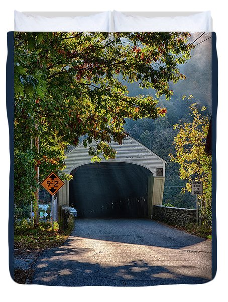 Duvet Cover featuring the photograph Cornish-windsor Covered Bridge by Jeff Folger
