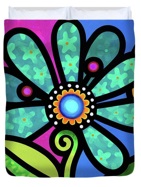Cosmic Daisy In Aqua Duvet Cover