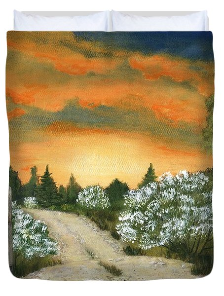 Duvet Cover featuring the painting Country Road by Anastasiya Malakhova