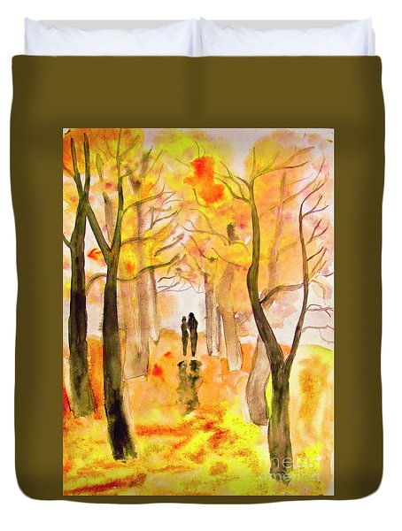 Couple On Autumn Alley, Painting Duvet Cover