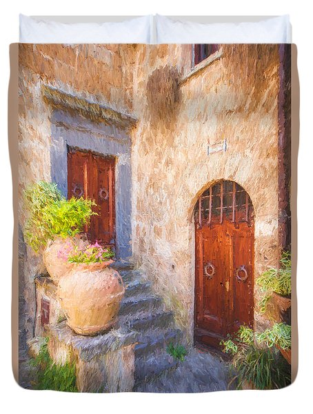 Courtyard Of Tuscany Duvet Cover