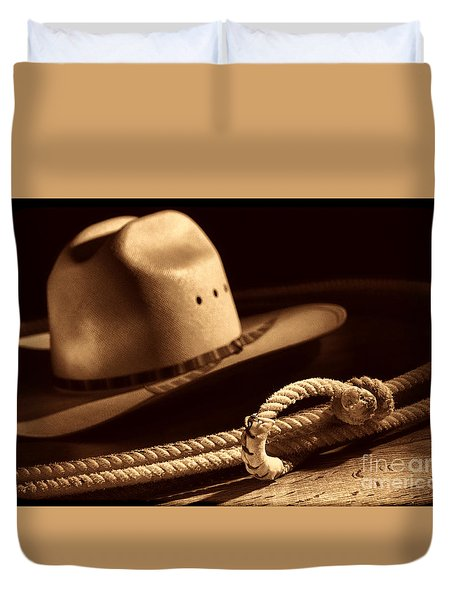 Cowboy Hat And Lasso Duvet Cover