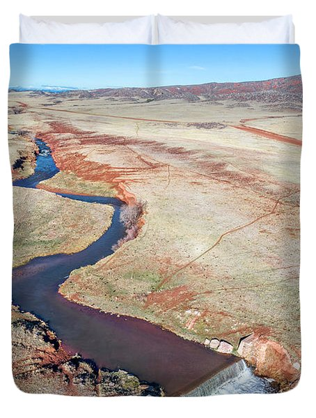 creek at  Colorado foothills - aerial view Duvet Cover
