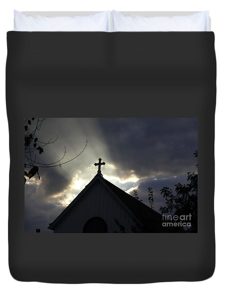 Cross In Sun Rays Duvet Cover