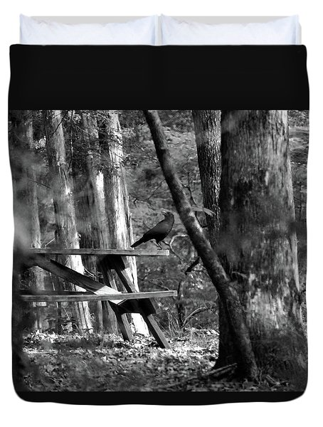 Crow On A Table Duvet Cover by Andy Lawless