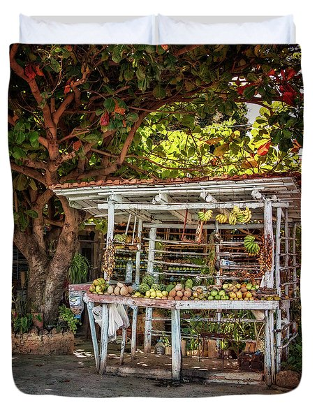 Duvet Cover featuring the photograph Cuban Fruit Stand by Joan Carroll
