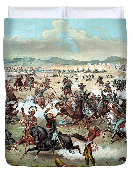 Duvet Cover featuring the painting Custer's Last Stand by War Is Hell Store
