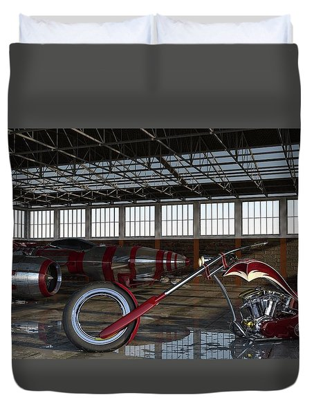 Duvet Cover featuring the photograph Custom Chopper  by Louis Ferreira