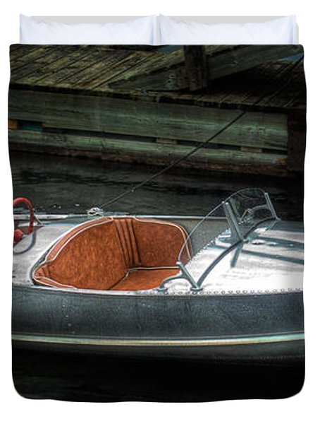 Cute Boat - 1948 Feather Craft Duvet Cover