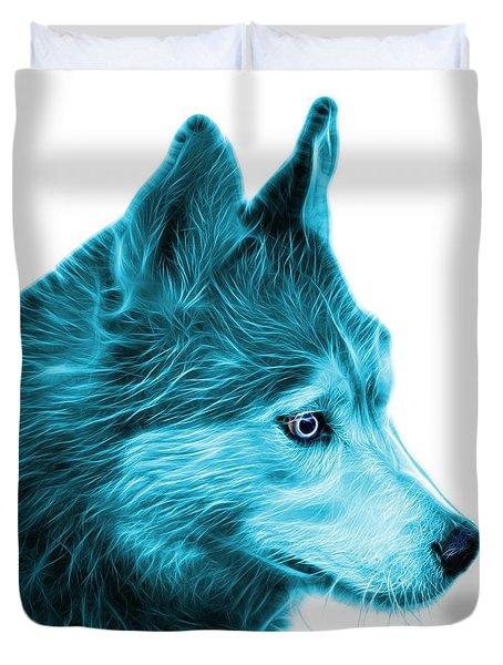 Cyan Siberian Husky Art - 6048 - Wb Duvet Cover