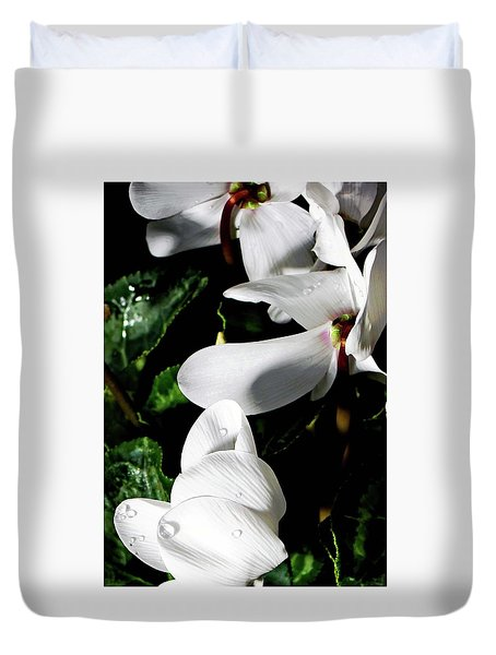 Duvet Cover featuring the photograph Cyclamen by Mindy Newman