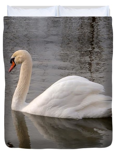 Duvet Cover featuring the photograph Cygne by Marc Philippe Joly