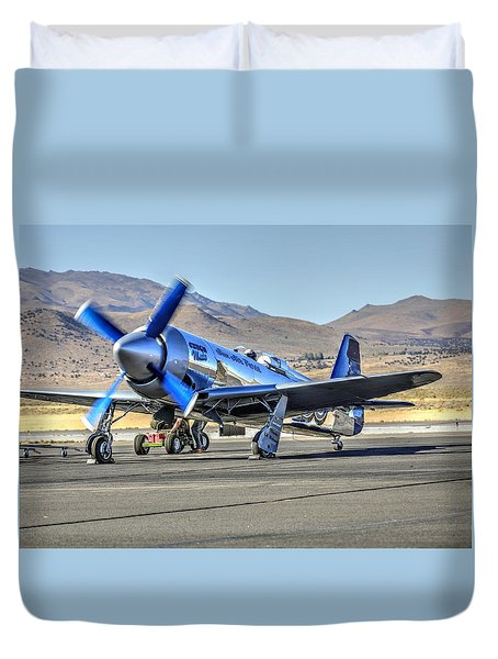 Duvet Cover featuring the photograph Czech Mate Engine Start Sunday Afternoon Gold Unlimited Reno Air Races by John King