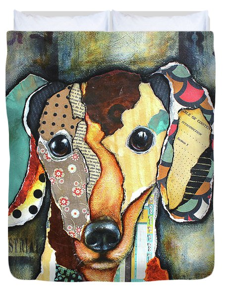 Duvet Cover featuring the mixed media Dachshund by Patricia Lintner