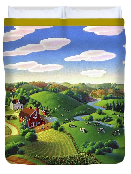 Duvet Cover featuring the painting Dairy Farm  by Robin Moline