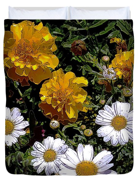 Daisies And Marigolds Duvet Cover