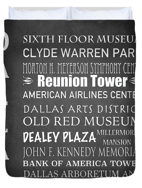 Dallas Famous Landmarks Duvet Cover