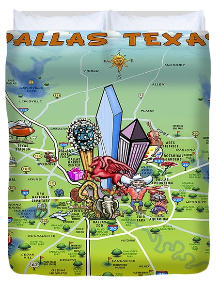 Dallas Texas Cartoon Map Duvet Cover