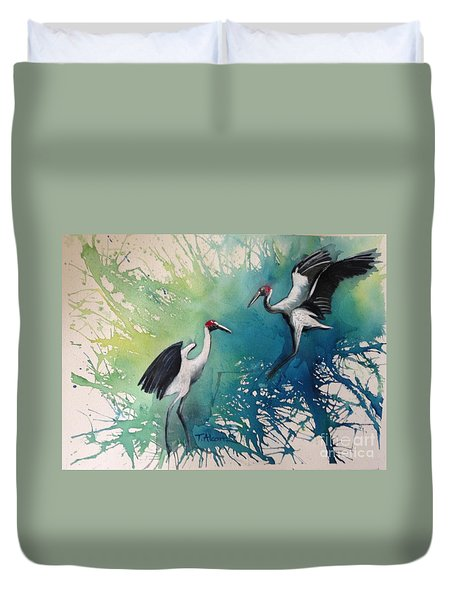 Duvet Cover featuring the painting Dance Of The Brolgas - Original Sold by Therese Alcorn