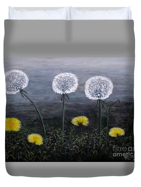 Duvet Cover featuring the painting Dandelion Family by Judy Kirouac