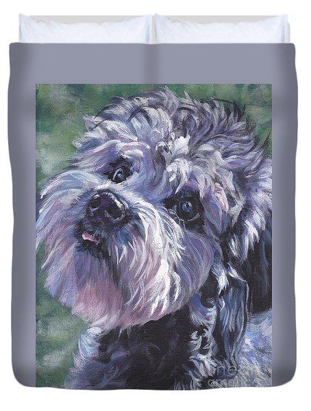 Duvet Cover featuring the painting Dandie Dinmont Terrier by Lee Ann Shepard