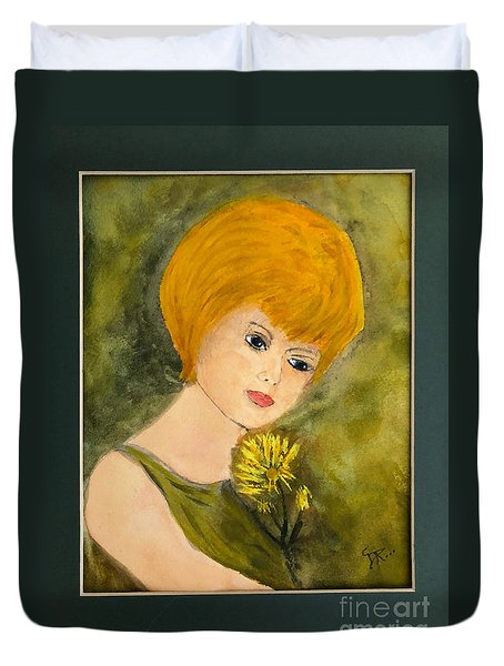 Duvet Cover featuring the painting Debbie by Donald Paczynski