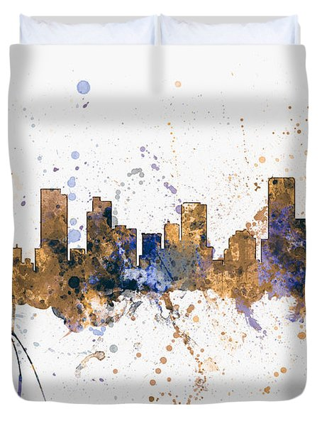 Denver Colorado Skyline Cityscape Duvet Cover