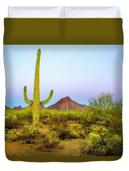Duvet Cover featuring the photograph Desert Beauty by Barbara Manis