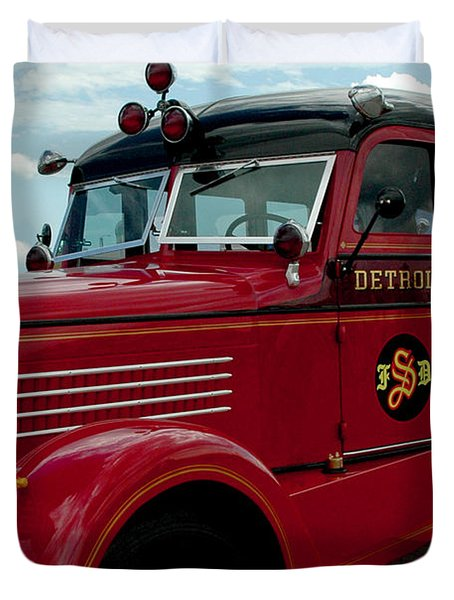 Detroit Fire Truck Duvet Cover