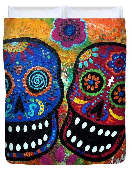 Dia De Los Muertos Couple Duvet Cover