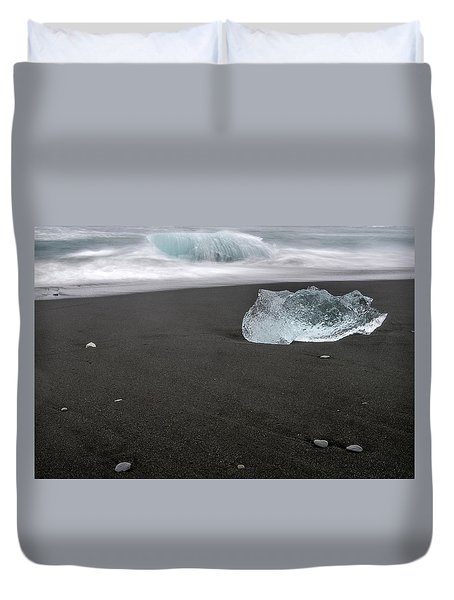 Duvet Cover featuring the photograph Diamonds Floating In Beaches, Iceland by Pradeep Raja PRINTS