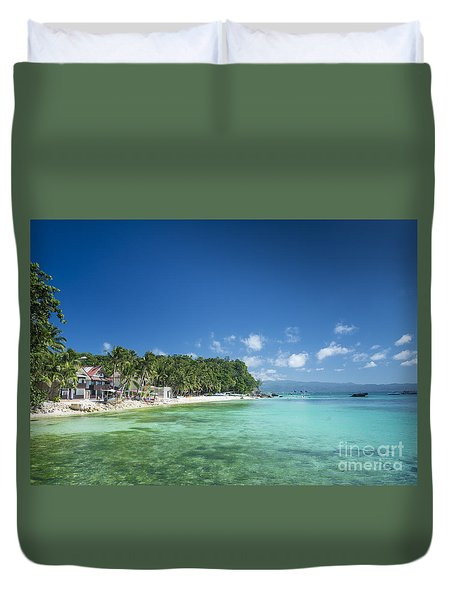 Diniwid Beach In Tropical Paradise Boracay Philippines Duvet Cover