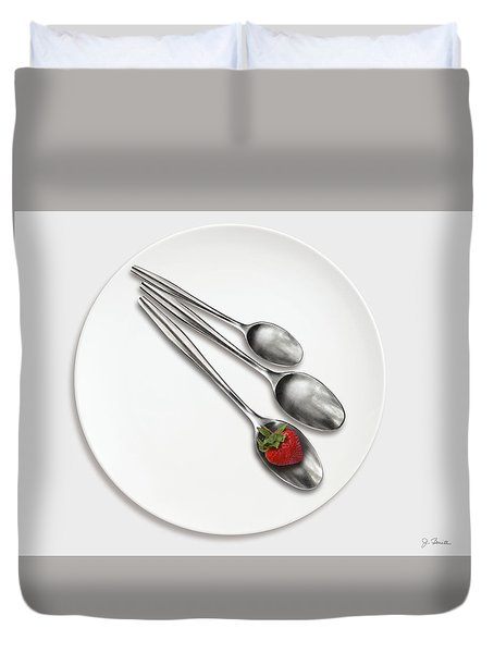 Dish, Spoons And Strawberry Duvet Cover