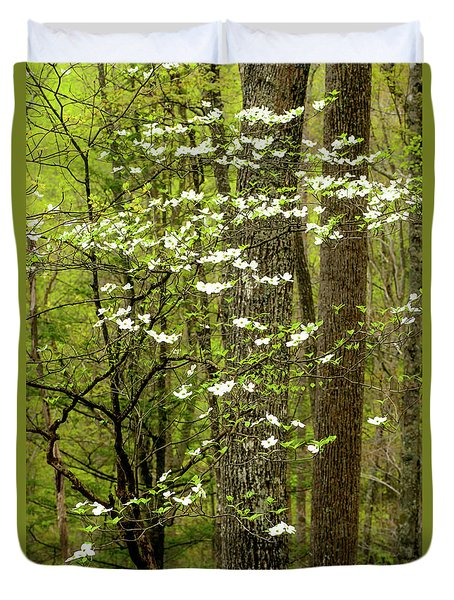 Dogwood Blooming In Forest Duvet Cover
