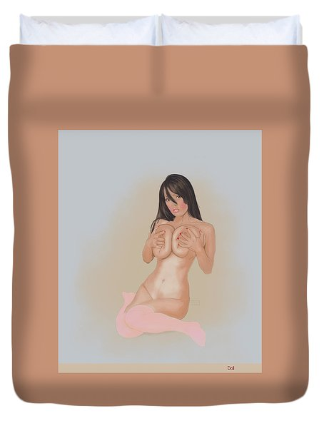 Duvet Cover featuring the mixed media Doll by TortureLord Art