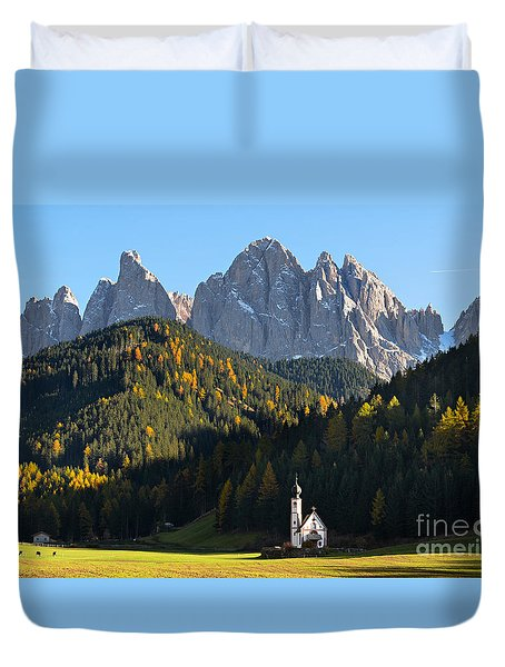 Dolomites Mountain Church Duvet Cover