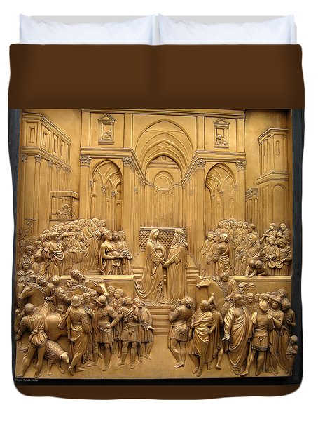 Duvet Cover featuring the relief Door Relief  by Suhas Tavkar