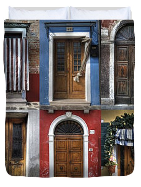 doors and windows of Burano - Venice Duvet Cover