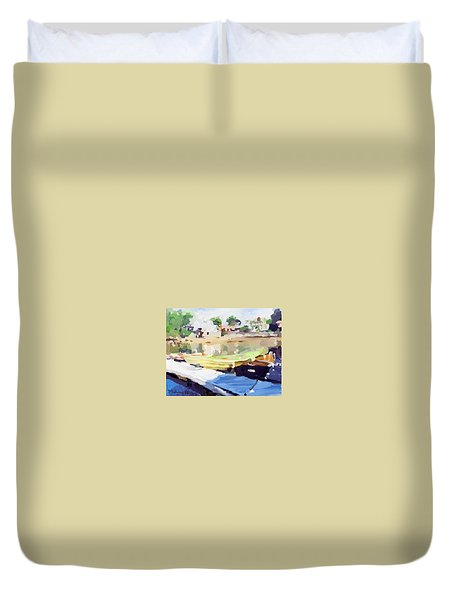 Dories At Beacon Marine Basin Duvet Cover by Melissa Abbott