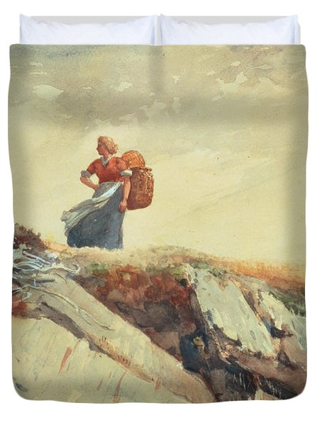 Down The Cliff Duvet Cover by Winslow Homer