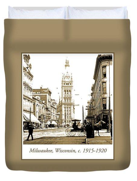 Downtown Milwaukee, C. 1915-1920, Vintage Photograph Duvet Cover